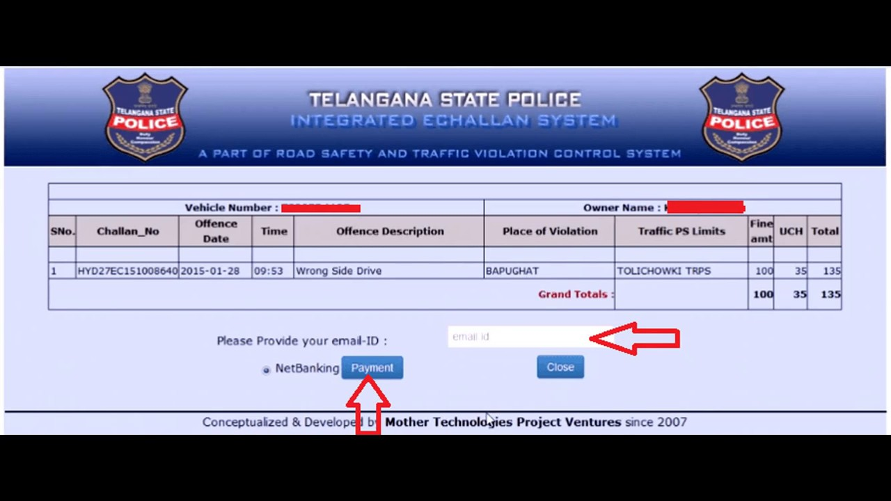 Traffic E Challan Check Up Hyderabad | Telangana Pay Pending