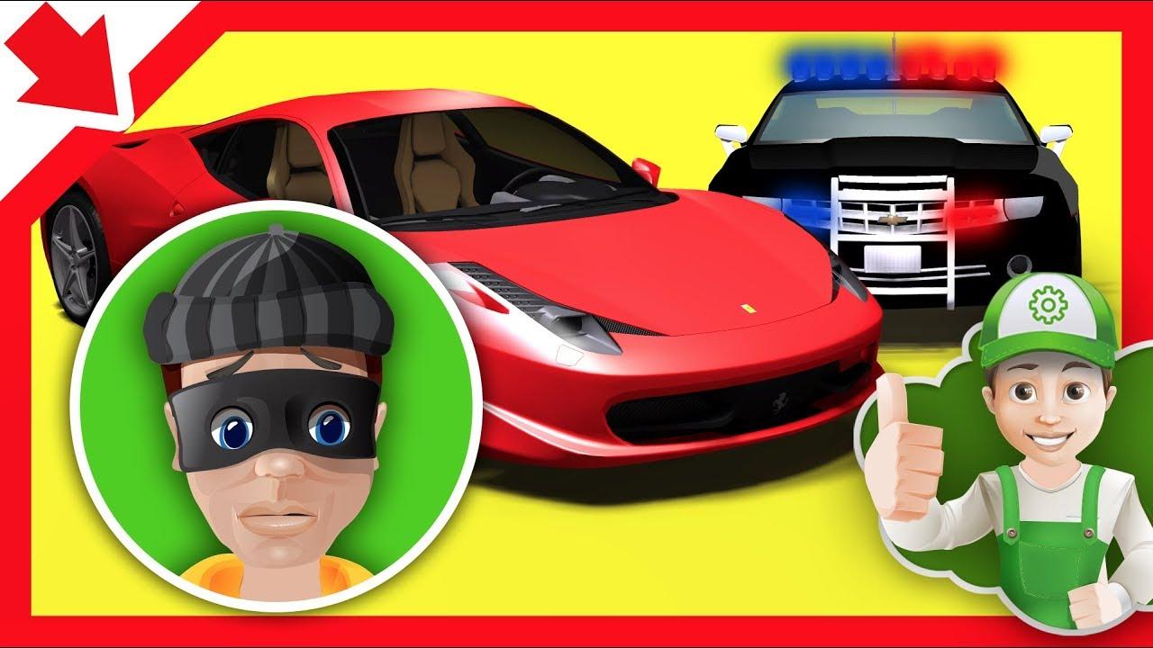 Voiture de sport vs police bebe police enfant en voiture dessin anim de policier voiture - Voiture police dessin anime ...