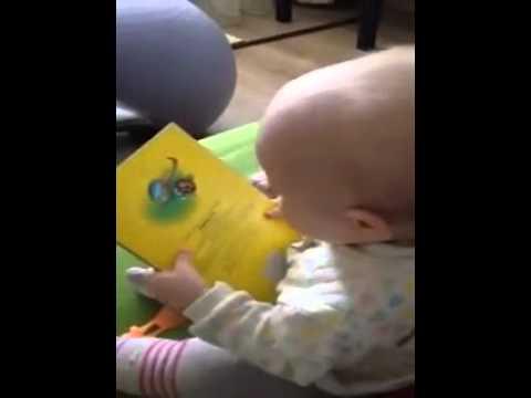 Bebe leyendo su libro