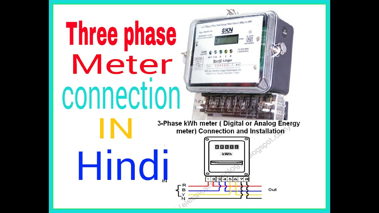 Wiring Diagram For Household Electricity Three Phase Meter Connection In Hindi Hindi Urdu Youtube