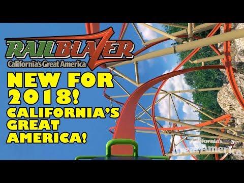 Railblazer Roller Coaster POV 2018 New at California's Great America Animated Preview