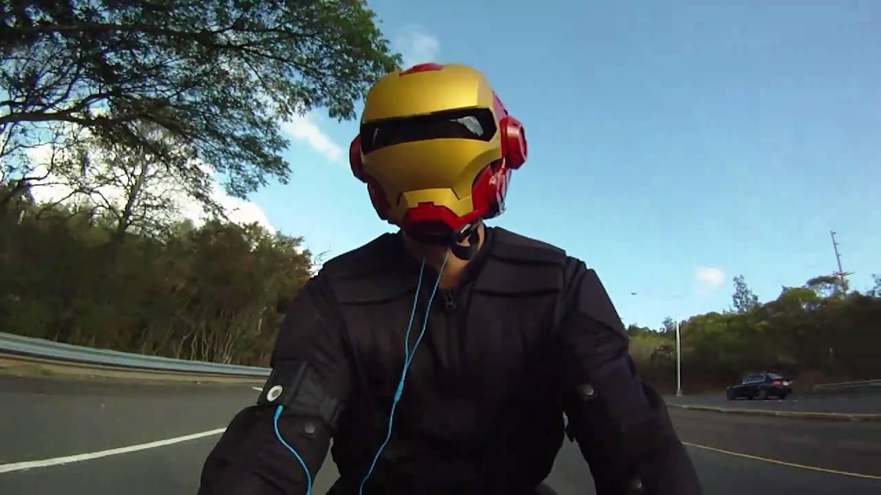 Iron Man Custom Motorcycle Helmet On Yamaha R1 Gopro Hero
