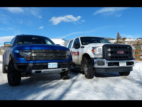 2014 ford raptor 62l vs f 250 62l mashup ike gauntlet towing test part 1