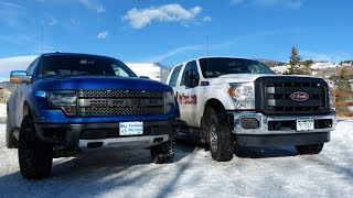 2014 Ford Raptor 6.2L vs F-250 6.2L Mashup Ike Gauntlet Towing Test ( Part 1)