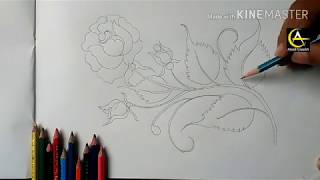 How to draw rose with leaf...