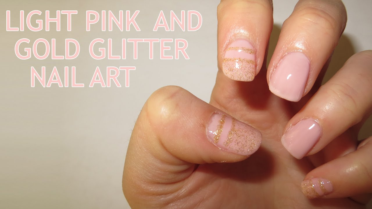light pink and gold glitter nail art (requested) - youtube