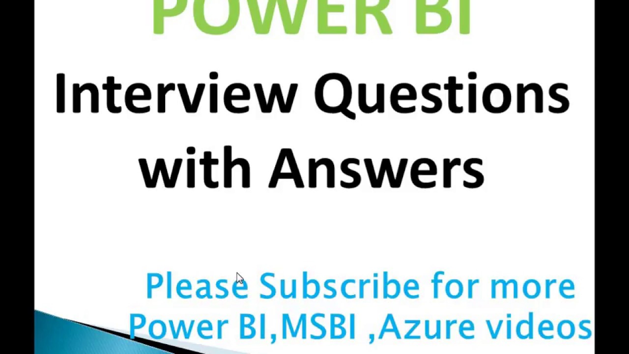 Power BI Interview Questions with Answers - Training2BI Azure