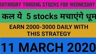 Intraday trading strategy for 11 March 2020 | With Chart Explanation | Sure Profit
