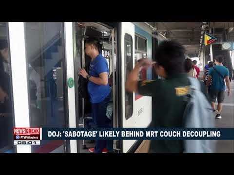 NEWS BREAK | DOJ: 'Sabotage' likely behind MRT couch decoupling
