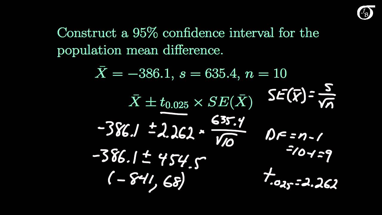 An Example of a Paired-Difference t Test and Confidence Interval ...
