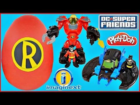 GIANT PLAY DOH SURPRISE EGG ROBIN DC Super Friends IMAGINEXT Justice League