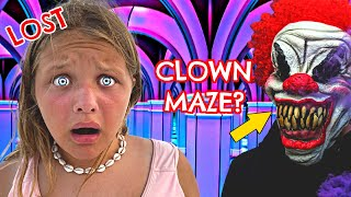LOST in MAZE w/ CREEPY CLOWNS! Beach Family Vacation VLOG with Fun and Crazy Family