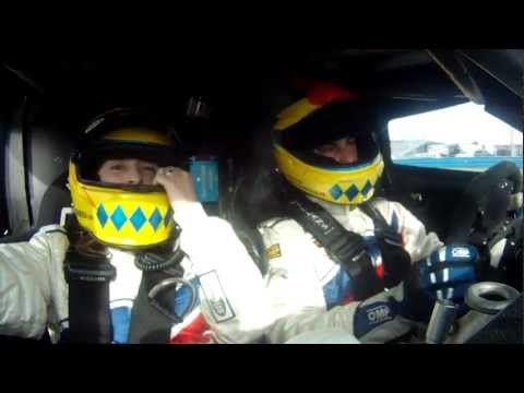 Joao Barbosa takes wife on a wild ride around Daytona highbanks in a 2 seater DP.mov