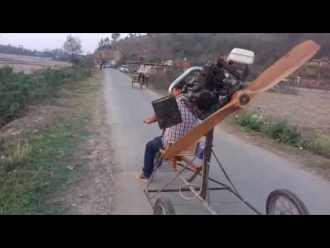 Experimental ultralight aircraft using bike engine run test.