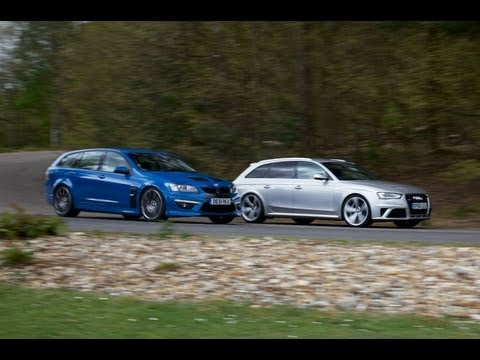 Audi RS4 Avant vs Vauxhall VXR8 Tourer (Holden HSV Clubsport) - performance estate car showdown