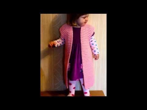 Модная, вязаная спицами жилетка крупной вязки на девочку. Для начинающих.