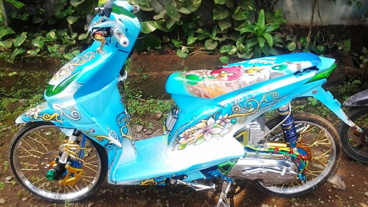 Cah Gagah Video Modifikasi Motor Honda Beat Airbrush Warna Biru