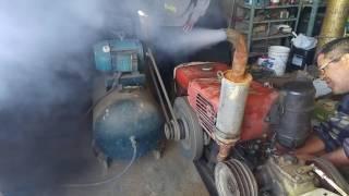 funcionando tobata com motor do compressor de ar