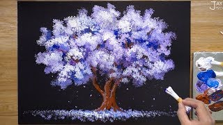 How to paint a 'Jacaranda' Tree in Acrylic / Easy / Satisfying
