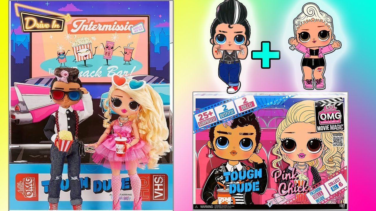 NEW LOL SURPRISE OMG MOVIE MAGIC 2-PACK! NEW LOL OMG BOY TOUGH DUDE & PINK CHICK