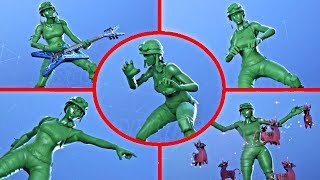 Fortnite Toy Trooper Green Army Men Skin Showcase with All Dances & Emotes
