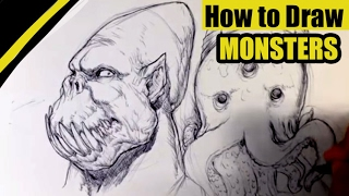 How to Draw a Monster - Head - Easy Thing to Draw