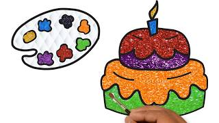 Birthday Cake Coloring pages - Drawing Cake for Children