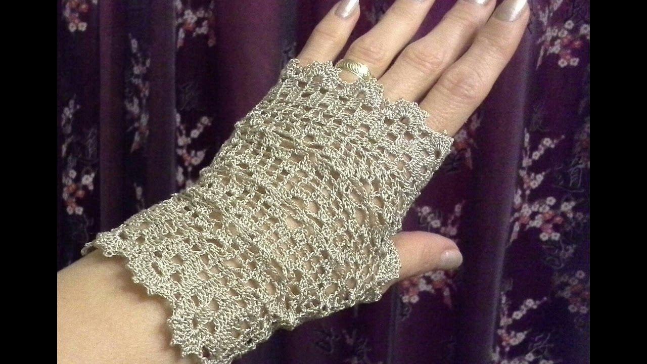 Guantes sin dedos o mitones tejidos a crochet - YouTube