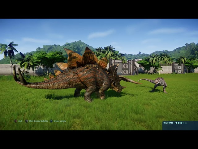 Jurassic World Evolution:  Majungasaurus vs Stegoceratops  (Base Genome)