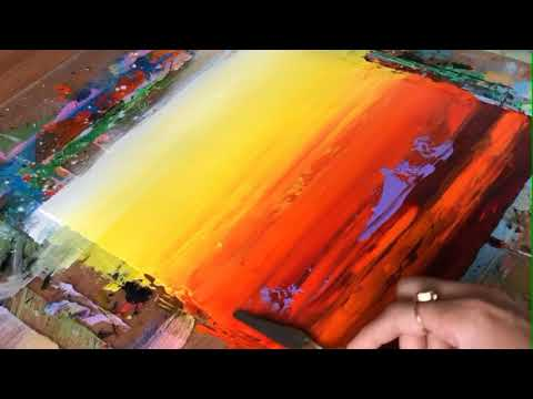 Simple & Easy Abstract Painting in Acrylic / Demonstration / Palette Knife blending / Art Technique.