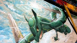 Rayquaza - Time Lapse Watercolor Painting - Pokémon Alpha Sapphire