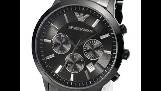 emporio armani ar2453 mens watch classic black stainless steel review アルマーニ ブラック レビュー メンズ 腕時計