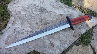 Bladesmithing - forging and engraving a broken back viking seax short sword