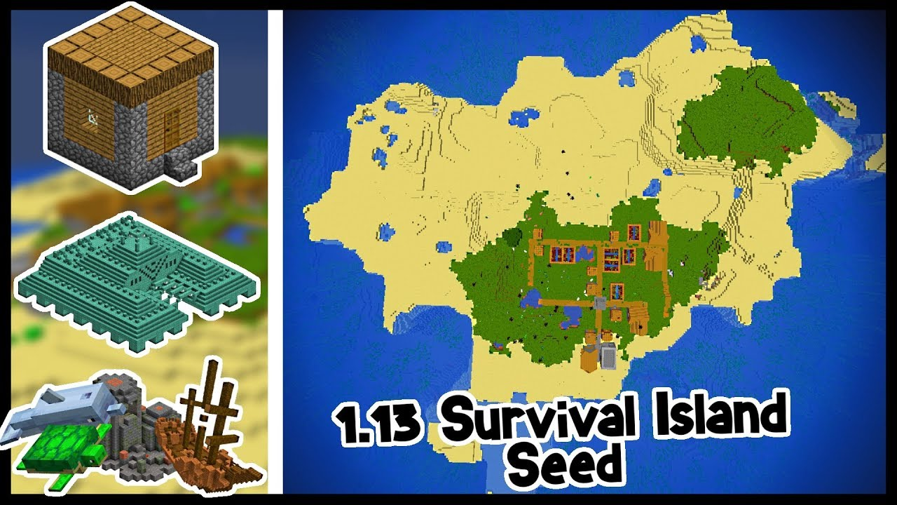 Minecraft 1 13 SEEDS | SURVIVAL ISLAND (VILLAGE AT SPAWN)