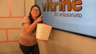 Cesto de Lixo em Crochê Endurecido com Carmem Freire