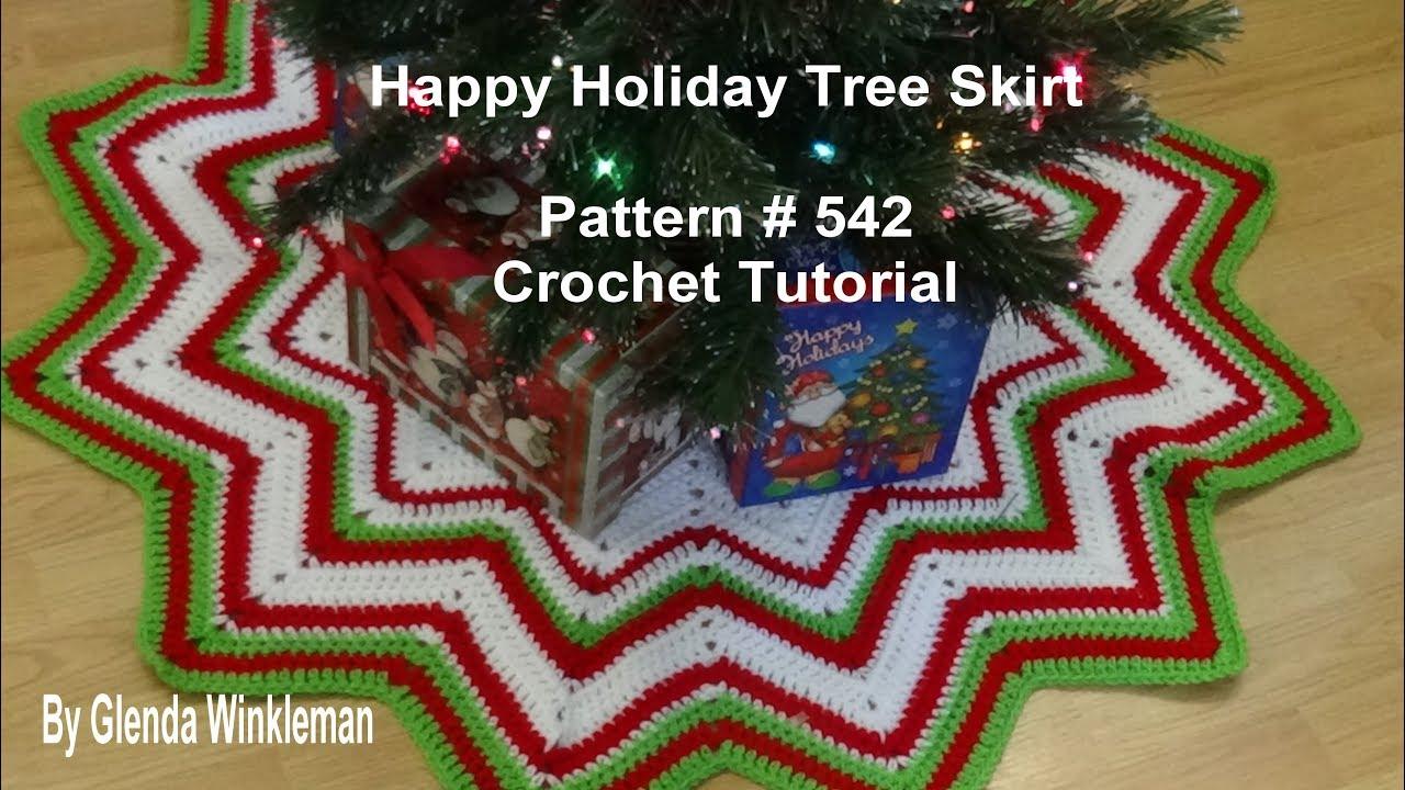 Happy Holiday Tree Skirt Pattern 542 Crochet Tutorial Youtube