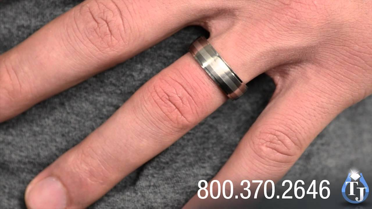 Titanium Wedding Ring with Silver Inlay by Edward Mirell, Drop Down ...