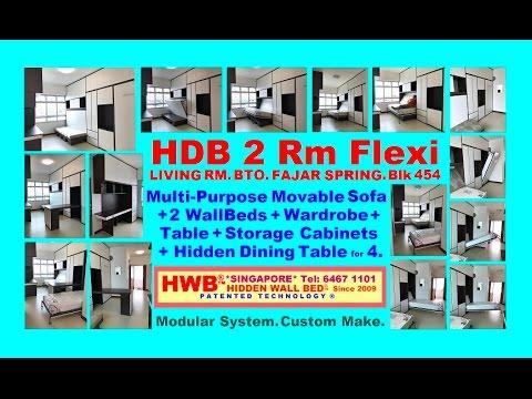 HDB 2 Rm Flexi.BTO.454.Fajar Spring.HiddenDiningTable+MovableSofa+2HiddenBeds SaveSpace+Wardrobe.
