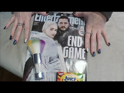 ASMR Magazine Flip Through. Game of Thrones. Gum, Whisper & Brush.