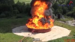 Тушение макета резервуара  РВС-1000. Испытание 1.(Проведение огневых испытаний тушения макета резервуара РВС-1000 для хранения нефти диаметром 10 м для опреде..., 2015-06-29T14:39:05.000Z)