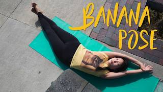 Banana Pose is a whimsical lateral bend that stretches and balances superficial and deep back muscles to simultaneously improve shoulder mobility and address one of the most common causes of lower back pain.