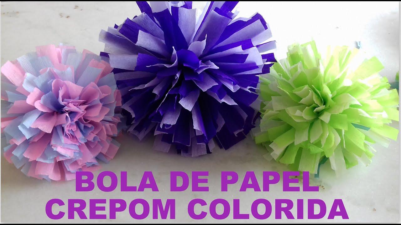 BOLA DE PAPEL CREPOM COLORIDA POMPOM DE SEDA #FÁCIL DE FAZER YouTube -> Decoração De Papel Crepom Como Fazer