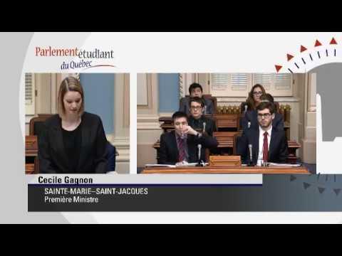 Parlement étudiant du Québec 2018 - 3 janvier - Gouvernement Bleu