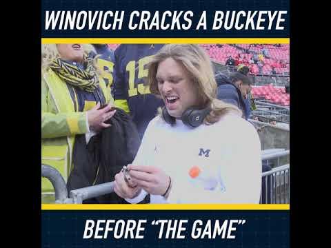 Chase Winovich Cracks A Buckeye Before Michigan Vs Ohio State Game Youtube