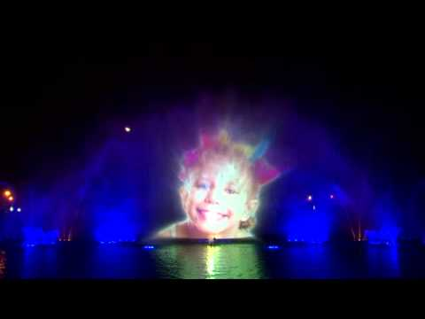 Largest Water Projection Screen in Middle East. Global Village. Dubai - UAE.