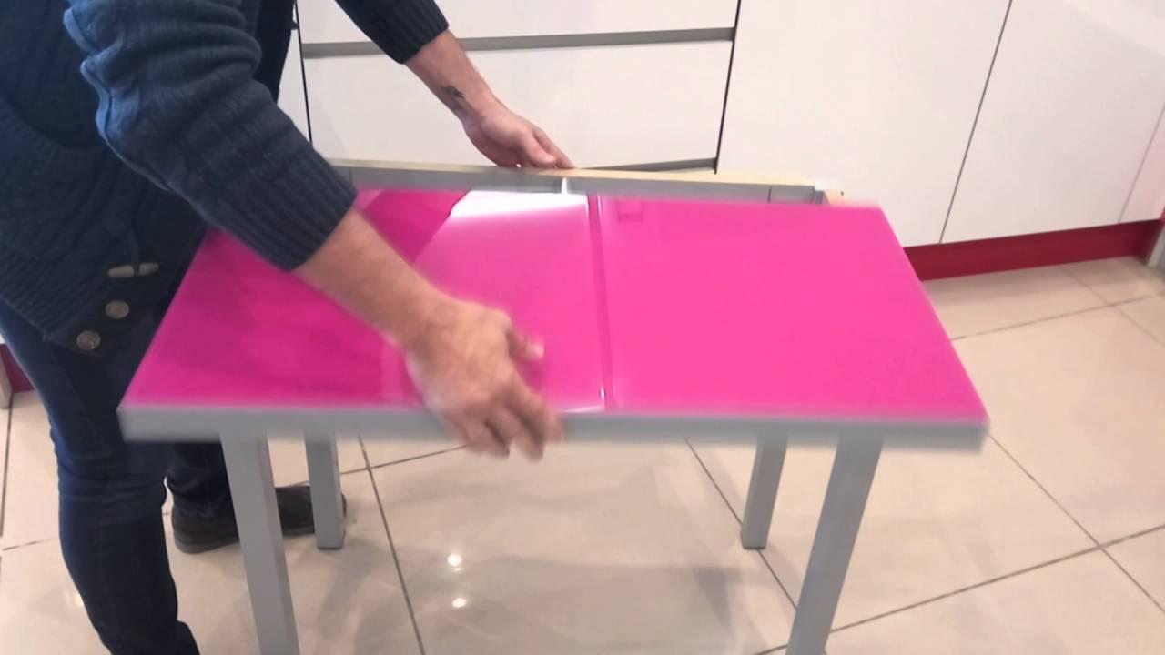 Mesa de cocina extensible tipo libro con tapa de cristal - YouTube
