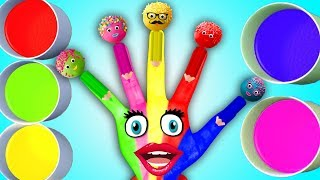 Body Paint Hand Finger Family Learn Colors | Nursery Rhymes Best Compilation | Cake Pop Body Paint