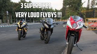 3 Superbikes Flying on the street | SupercarInBangalore| #83