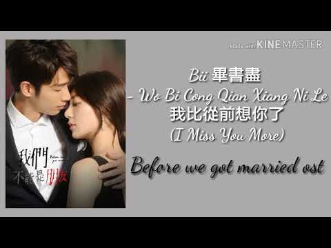 Bii- I Miss You More (eng/pinyin) OST Before We Get Married