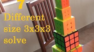 7 Different size 3x3x3 Rubik's cube solve